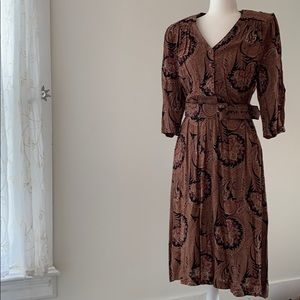 Vintage Paisley Button Down Dress with Belt